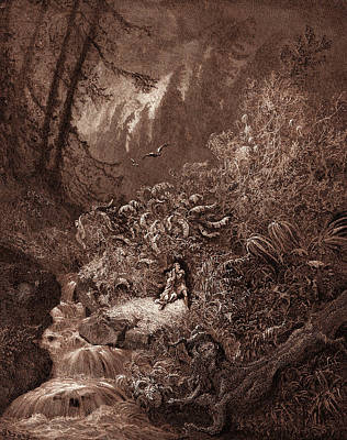 Storm Drawing - The Storm In The Forest, By Gustave Dore by Litz Collection