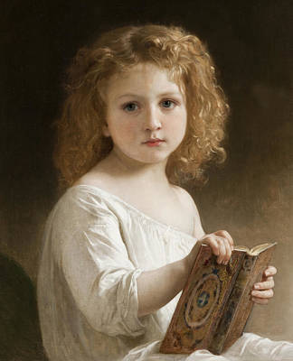 Digital Art - The Story Book by William Adolphe Bouguereau