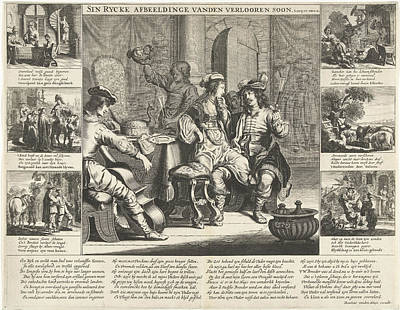 The Story Of The Prodigal Son, Cornelis Van Dalen Art Print by Cornelis Van Dalen (i) And Rombout Van Den Hoeye