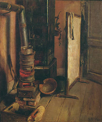 Atelier Photograph - The Stove Oil On Canvas by Ferdinand Victor Eugene Delacroix