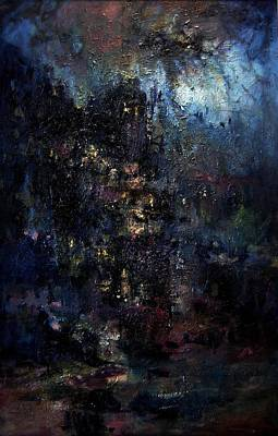 Creepy Castle Painting - The Strange Castle Of Dr. Scaribus by R W Goetting