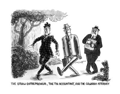 The Tin Man Drawing - The Straw Entrepreneur by Warren Miller