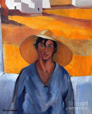 Painting - The Straw Hat - After Nikolaos Lytras by Kostas Koutsoukanidis