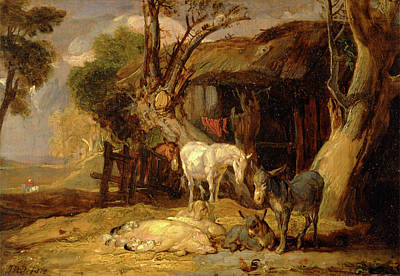 Rights Painting - The Straw Yard Signed And Dated, Lower Right J Wrd 1810 by Litz Collection