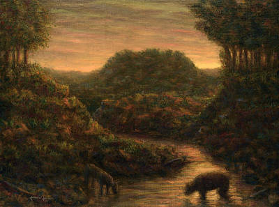 Sundown Painting - The Stream by James W Johnson