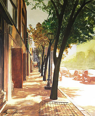 One Point Perspective Painting - The Street by Alyssa Kerr