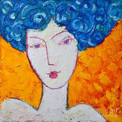 With Texture Painting - The Strength Of Grace Expressionist Girl Portrait by Ana Maria Edulescu