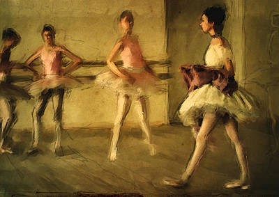 Pink Ballerina Painting - The Studio by H James Hoff