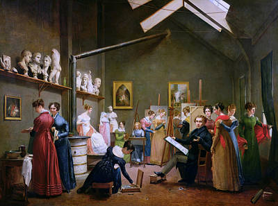 Marie-louise Painting - The Studio Of Abel De Pujol by Adrienne Marie Louise Grandpierre-Deverzy