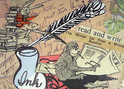 Print featuring the drawing The Studious Rabbit And The Monkey by Eloise Schneider