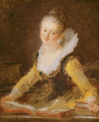 Desk Painting - The Study, Or The Song by Jean-Honore Fragonard