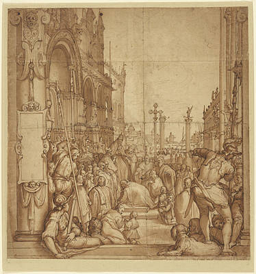 Wash Drawing - The Submission Of The Emperor Frederick Barbarossa To Pope by Litz Collection