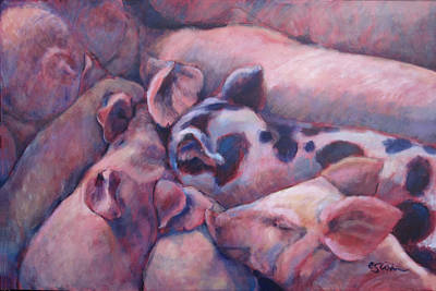 Piggies Painting - The Sucklings by Edie Cohn