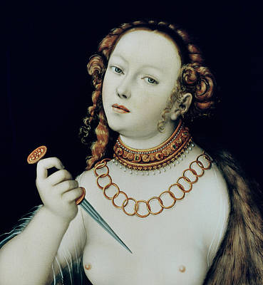 Distraught Painting - The Suicide Of Lucretia by Lucas the Elder Cranach