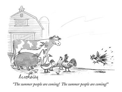Cow Drawing - The Summer People Are Coming!  The Summer People by Mort Gerberg