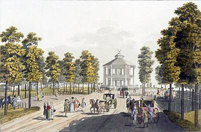 Pleasure Horse Drawing - The Summerhouse At Prater, Vienna, 1792 by Johann Ziegler
