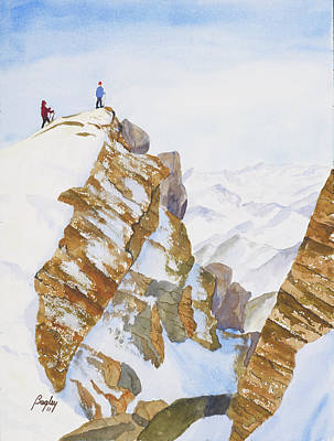 Ice Climbing Painting - The Summit by James S Bagley