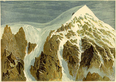 Vertex Drawing - The Summit Of The Aiguille Verte Switzerland by Swiss School