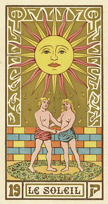 Tarot Drawing - The Sun, As Depicted On A Tarot  Card by Mary Evans Picture Library