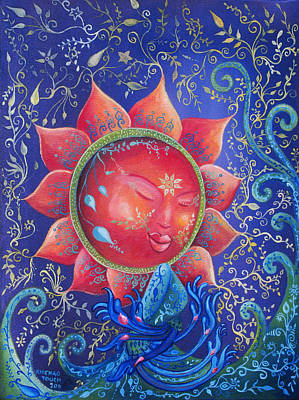 Cambodian Painting - The Sun At Night by Touch Khchao