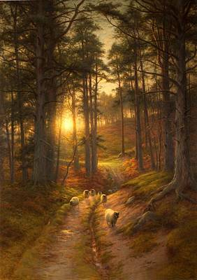 Sundown Painting - The Sun Fast Sinks In The West by Joseph Farquharson