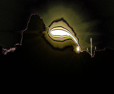 Abstract Digital Photograph - The Sun Over A Jagged Hill by Jeff Swan