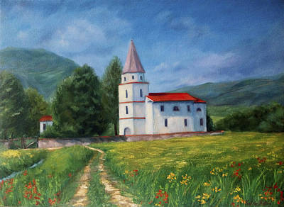 Wild Asters Painting - The Sunny Road Landscape With Field And Church by Katrin Aster
