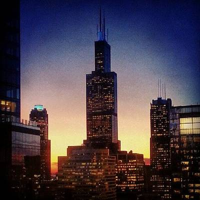 Chicago Photograph - The Sun Sets Behind Sears by Jill Tuinier