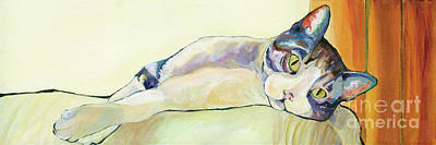Cat Painting - The Sunbather by Pat Saunders-White