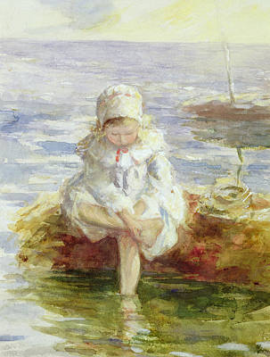 Little Girl On Beach Painting - The Sunny Sea by Robert Gemmel Hutchison