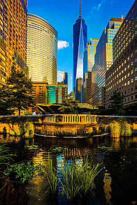 Skylines Royalty-Free and Rights-Managed Images - The Sunset Colors Of Battery Park City by Chris Lord