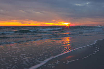 Art Print featuring the photograph The Sunset Kissing The Waves by Jose Oquendo