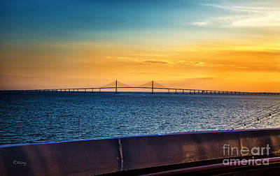 Photograph - The Sunshine Skyway Bridge At Sunset by Rene Triay Photography