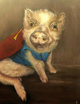 Pig Painting - The Super Pig by Fallon Franzen