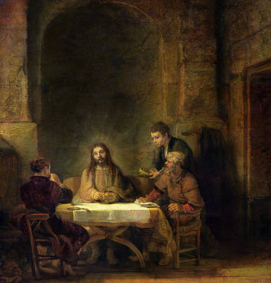 Biblical Scene Painting - The Supper At Emmaus, 1648 Oil On Panel by Rembrandt Harmensz van Rijn