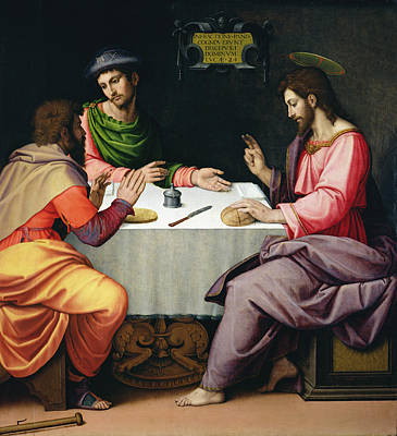 Apparition Photograph - The Supper At Emmaus, C.1520 Oil On Canvas by Ridolfo Ghirlandaio