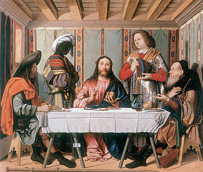 Supper At Emmaus Painting - The Supper At Emmaus by Marco Marziale