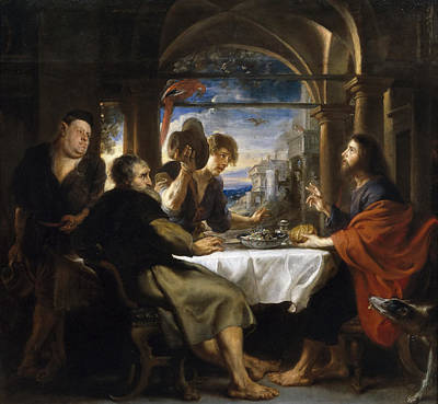 Emmaus Painting - The Supper At Emmaus by Peter Paul Rubens