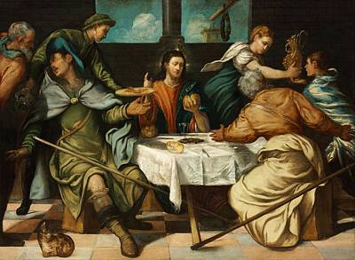 Supper At Emmaus Painting - The Supper At Emmaus by Tintoretto
