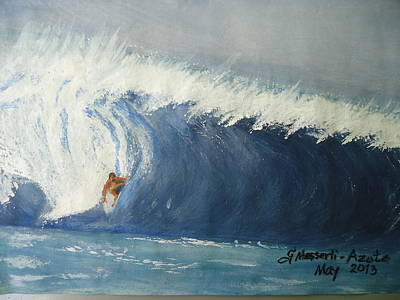 The Surfing Art Print by Fladelita Messerli-