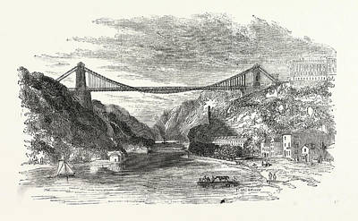 Suspension Drawing - The Suspension Bridge At Clifton, Uk, Britain by English School