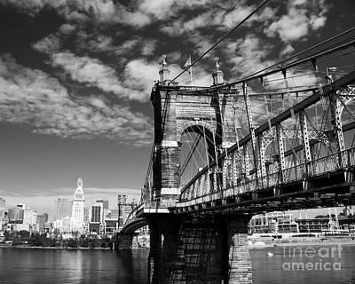 The Suspension Bridge Bw Print by Mel Steinhauer
