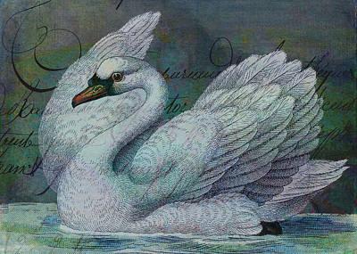 Petrol Green Digital Art - The Swan Also Rises by Sarah Vernon
