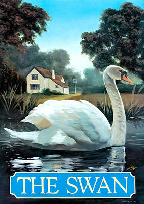 Swans... Painting - The Swan by Peter Green