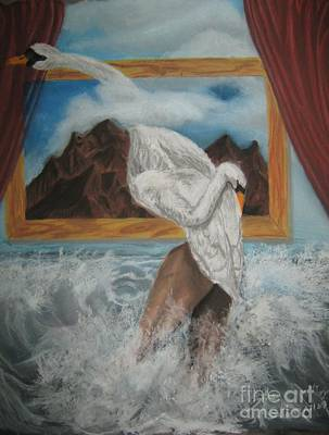 Surrealistic Painting - The Swan Song by Safa Al-Rubaye