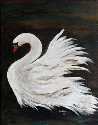 Painting - The Swans Of Albury Manor II by Barbie Batson