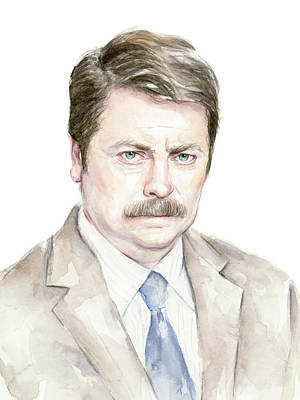 Ron Swanson Watercolor Portrait Original