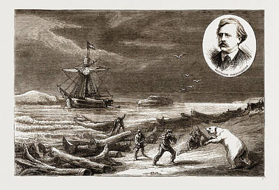 Arctic Drawing - The Swedish Arctic Expedition Hoisting The Swedish Flag by Litz Collection