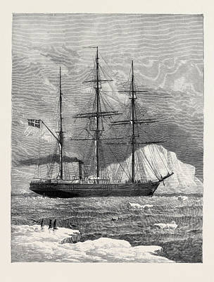 Arctic Drawing - The Swedish Arctic Exploring Ship Vega Among Icebergs 1880 by English School