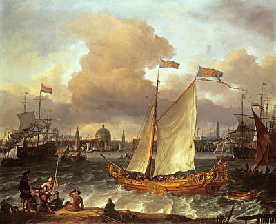 Netherland Painting - The Swedish Yacht Lejouet, In Amsterdam Harbour, 1674 by Ludolf Backhuysen